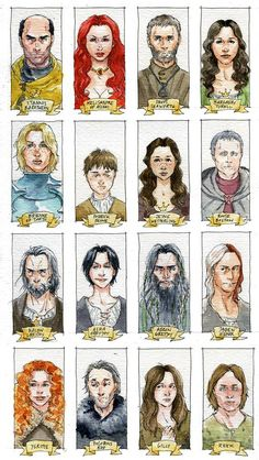 Great watercolor sketches of some of the ASOIAF characters