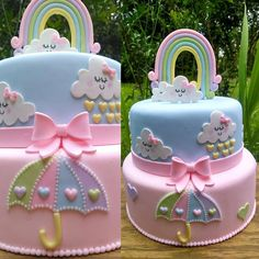 68 ideas baby shower cake rainbow party ideas for 2019 Baby Girl Cakes, Baby Birthday Cakes, Baby Boy, Rainbow Birthday, Rainbow Baby, Cake Rainbow, Rainbow Pastel, Bolo Fack, Cloud Cake