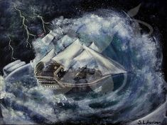 "A painting of a ship in a storm in a teacup  Acrylic paint on Canvas Board Dimensions: 5""x7"" Framed"