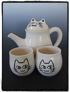 Cute Calico Cat Teapot - Set for Two