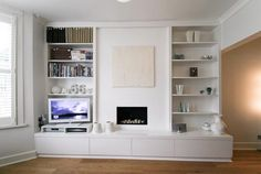 Shelves for sitting room alcove and storage for under TV