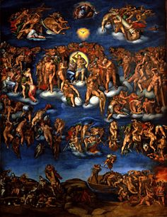 Michelangelo - The Last Judgement, Sistine Chapel, Rome. Considered a precursor to Mannerism, this High Renaissance masterpiece displays the elongated forms and contours that would come to be a hallmark of Mannerist and Baroque art.