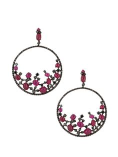 London Collection 18k Black Gold Ruby and Black Diamond Open Circle Earrings