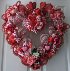 Heart Shaped Valentines Wreath Red and White by PJCreativeWreaths, $67.50