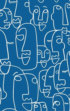 Positive Quotes Discover Blue Face Line Drawing Wallpaper Mural Drawing Wallpaper, Retro Wallpaper, Pattern Wallpaper, Photo Wallpaper, Antique Wallpaper, Blue Wallpapers, Wallpaper Backgrounds, Wallpapers Android, Wallpaper Murals