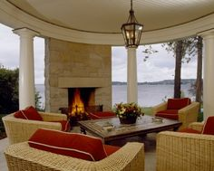 Lakeshore, Mercer Island 31 Houses With Epic Views You Only Find In Seattle Beautiful Outdoor Living Spaces, Home, Outside Living, Traditional Exterior, Corner Fireplace, Beautiful Homes, Outdoor Fireplace Designs, Fireplace, Living Design
