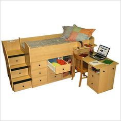 boys loft bed with desk | Captain's Bed with Desk Shown in Natural Maple - Click to Enlarge