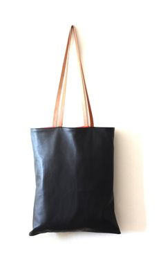 Leather Tote Bag - Black Soft Leather