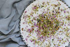 mostly raw pistachio rose tart