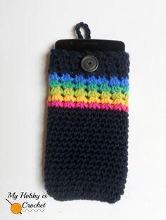 """Midnight Rainbow"" - Crochet Phone Cover with Detachable Strap - The Yarn Box The Yarn Box"