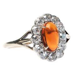 Fire Opal and Diamond Edwardian Ring.