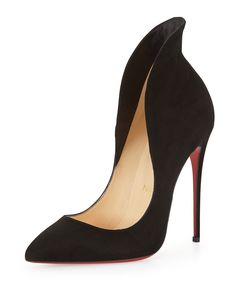 Christian Louboutin Mea Culpa Flared Suede Red Sole Pump in black features architectural, flared topline.