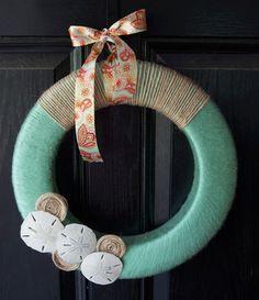 Seashell wreath for the summer door decoration.