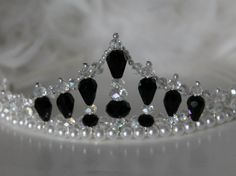 Black and White Crtstal and Pearl Tiara by CreativeCalling1
