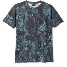 PS by Paul Smith Palm Leaves Print T-Shirt ($195) ❤ liked on Polyvore featuring tops, t-shirts, blue tee, palm tree top, palm tree tee, ps paul smith and palm print top