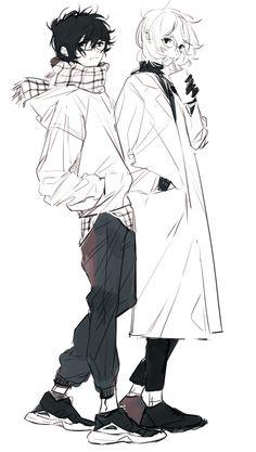 Akira/Ren and Akechi 5 Anime, Anime Guys, Anime Art, Drawing Reference Poses, Drawing Poses, Pretty Art, Cute Art, Akira Kurusu, Wow Art