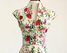 Spring flower dress, floral dress, summer dress, vintage style dress, mid-length dress, cotton dress, 50s dress, garden party dress