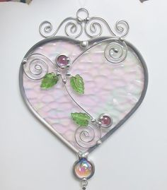 Stained Glass Heart Suncatcher with Prism by JasGlassArt on Etsy