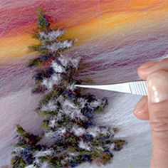 painting christmas tree and snow