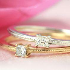プリンセスカットダイヤモンド×ピンクゴールド/ホワイトゴールドリング