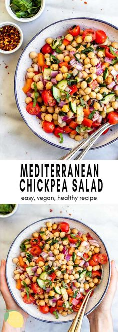 This vegan mediterranean chickpea salad makes the best healthy lunch! It's an incredibly easy recipe to make, full of protein, fresh herbs, flavor and made with a simple olive oil dressing. Recipes salad Mediterranean Chickpea Salad (In 15 minutes! Chickpea Recipes, Veggie Recipes, Salad Recipes, Vegetarian Recipes, Cooking Recipes, Healthy Recipes, Recipes Dinner, Pasta Recipes, Crockpot Recipes