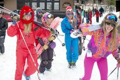 From left, Kate Elkind, Becca Gerber, Sarah Beal and Abby Clark head for the lifts Wednesday dressed in their finest Gaper Day outerwear, Jackson Hole's version of an April Fools' Day celebration. The last day of the ski season is Sunday, where there will surely be an equally well-costumed party ready to take over the mountain. PRICE CHAMBERS / NEWS&GUIDE