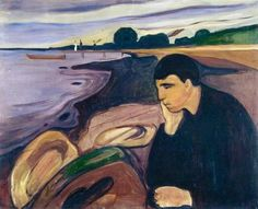 """Melancholy, Edvard Munch, 1892. In his diary, Munch described the emotions that had inspired this painting: """"I was walking along the sea ... The rocks were located on the water as marine beings Mystics ...The dark blue and purple sea saliva and down ... Water sobbed and sucked around the rocks. Long grey striavano clouds the horizon. It seemed that everything had died (as did another world). A landscape of death """"."""