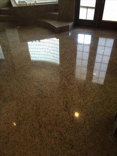Granite bathroom floor. Refinished, polished and sealed. BEAUTIFUL!
