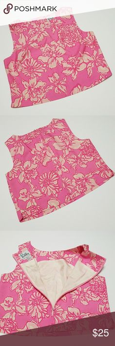 """Lilly Pulitzer pink floral sleeveless top EUC Lilly Pulitzer vintage pink floral zippered back sleeveless top. 100% silk. Dry clean only.  Lay flat measurements: 18.5"""" pit to pit, 17.5"""" long. Lilly Pulitzer Tops"""