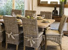 Greige Wicker Dining Parsons Chair Stone Top Table Rustic Cottage