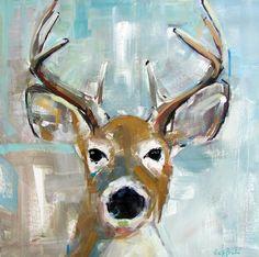 """Deer on Light Blue"" original oil painting of white tail buck deer by Alabama artist Gina Brown"