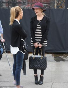 Kristin Cavallari.. Hat Attack Velour Merci Hat, Helmut Lang Wither Leather Jacket, Enza Costa Striped Sweater, Chinese Laundry by Kristin Cavallari Raylin Boots, and Chanel Caviar Gst Shopping Bag..
