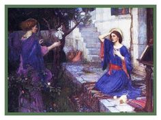 The Annunciation inspired by John William Waterhouse Counted Cross Stitch or Counted Needlepoint Pattern