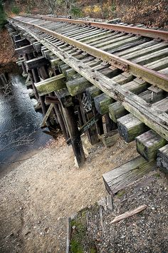 old, abandoned railroad trestle Railroad Bridge, Railroad Tracks, Garden Railroad, Abandoned Train, Abandoned Places, Old Bridges, Old Steam Train, Bonde, Train Pictures