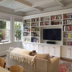 family room: TV Room with built-ins