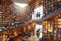 National Geographic - 14 Epic Libraries Around the World - Iwaki, Japan, International Picture Book Library Beautiful Library, Tadao Ando, Children's Picture Books, World's Most Beautiful, Book Worms, Facade, All About Time, Around The Worlds, Architecture