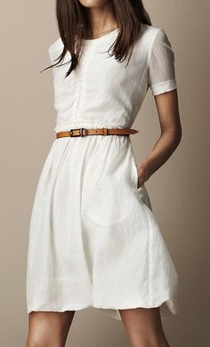 white linen dress with half sleeves, scoop neck,  ...