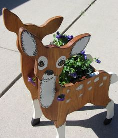 Handpainted Deer Planter WOOD Bambi Two-sided Handmade by QuinlanQ