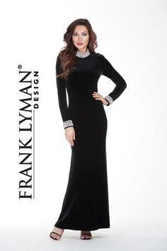 Lyman by Frank Lyman Design. Stunning velvet evening gown with pearled neckline and cuff. Proudly Made in Canada.
