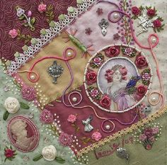 """I ❤ crazy quilting, beading & ribbon embroidery . . . Leonie's completed block. Another elegant block to add to our wall hanging. """"Leonie's work is exquisite & beyond gorgeous."""". (Simply elegant). ~By Barbara B."""