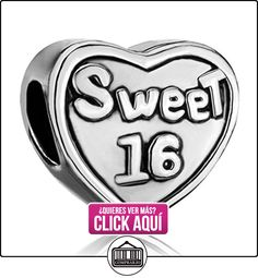 'Sweet 16' Happy 16th cumpleaños del encanto del corazón se ajusta Pandora Pulsera de abalorios y cuentas regalo para las niñas  ✿ Joyas para niñas - Regalos ✿ ▬► Ver oferta: https://comprar.io/goto/B00ZFPCRIS