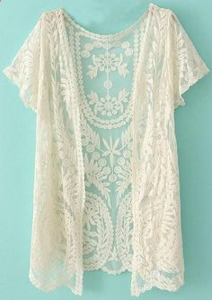 White Short Sleeve Crochet Net Lace Cardigan