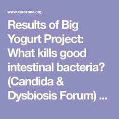 Results of Big Yogurt Project: What kills good intestinal bacteria? (Candida & Dysbiosis Forum) 10/19/2006 757185