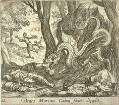 Draco Martius Cadmi socios depascit (El Dragón mata a los compañeros de Martius). Grabado de Antonio Tempesta. Lámina 22 de la serie de las Metamorfosis de Ovidio, editada por Wilhelmus Jansonnius.