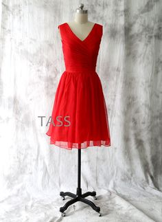 Cocktail Dress, Red Bridesmaid dress, Wedding dress, Straps V neck Short Chiffon dress, Red Party dress, Formal Dress, Prom dress