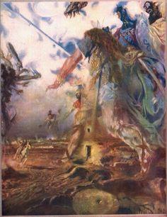 'No eran gigantes' de José Segrelles (1885-1969), ilustración de la edición de 'Don Quijote' de 1966 de Espasa Calpe.