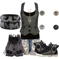 A fashion look from December 2012 featuring Lipsy tops, Forever 21 vests and Converse sneakers. Browse and shop related looks.