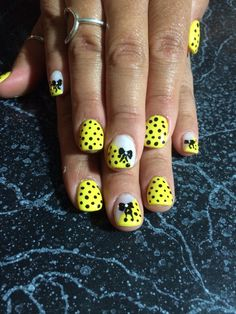 Yellow shellac with polka dots