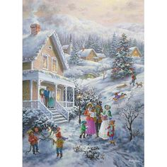 """""""Carolers"""" ~ a 1500 piece jigsaw puzzle from Bits and Pieces. Artist: Nicky Boehme"""