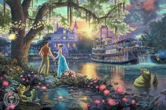 Princess and Frog Disney Thomas Kinkade